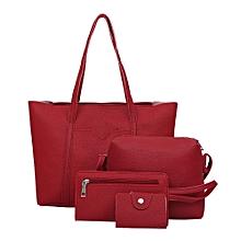 Tectores Women Four Set Handbag Shoulder Bags Four Pieces Tote Bag Crossbody Wallet