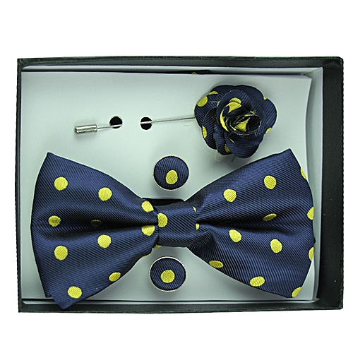 Polka Dot Bowtie Set - Dark Blue
