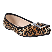 75afb235e18 Leopard Print Ballerina Flats - Black Brown