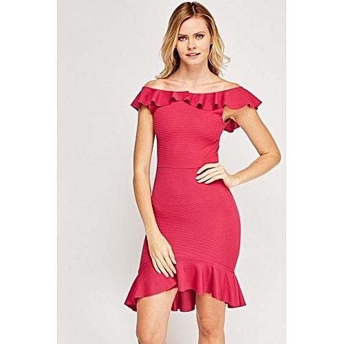Off-Shoulder Bodycon Midi Dress - Pink