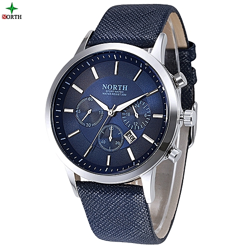 Luxury Leather Analog Wrist Watch - Blue