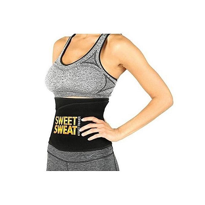18f5737e12 White Label Effective Sweet Sweat Waist Trimmer Belt - Black