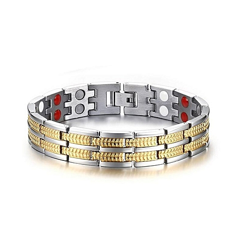 Tourmaline Titanium Steel Healthy Magnetic Therapy Energy Bracelet - Gold/Silver
