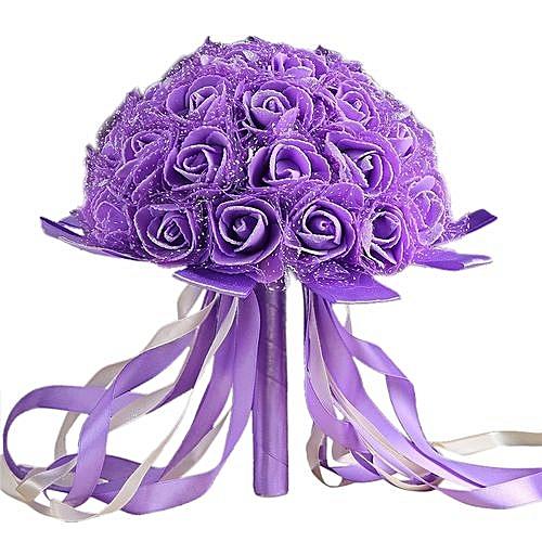 Crystal Ribbon Roses Bridesmaid Wedding Bouquet Bridal Artificial Silk Flowers-Purple, Neworldline