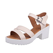f89abb8660a7c Blicool Shoes Women Outdoor Round Toe Platform High Heels Wedges Sandals  Buckle Slope Shoes Beige