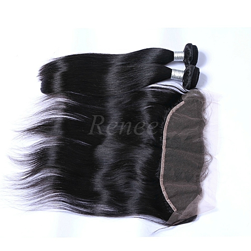 Malaysian Virgin Straight Human Hair - 2 Piece - 10'' + Lace Frontal Closure - Natural Black