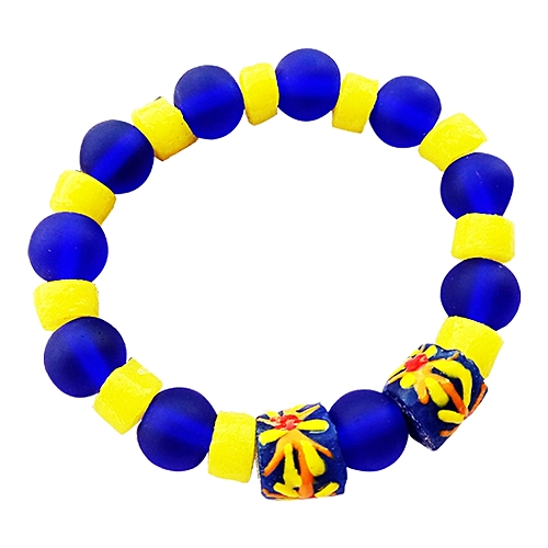 Traditional Beaded Bracelet - Yellow/Blue