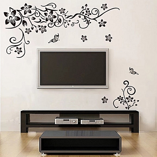 white label flower vines & butterfly wall sticker - cream   jumia ghana