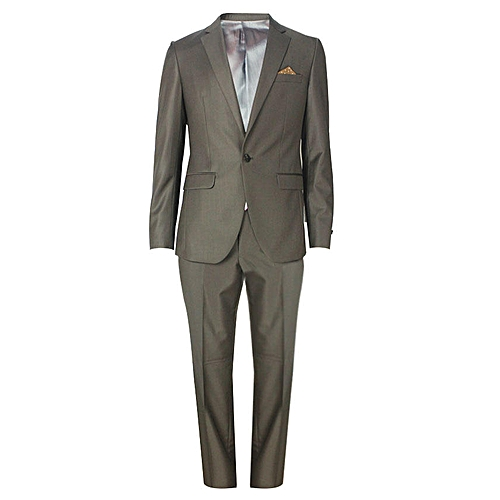 Single Button Slim Fit Suit - Dark Brown