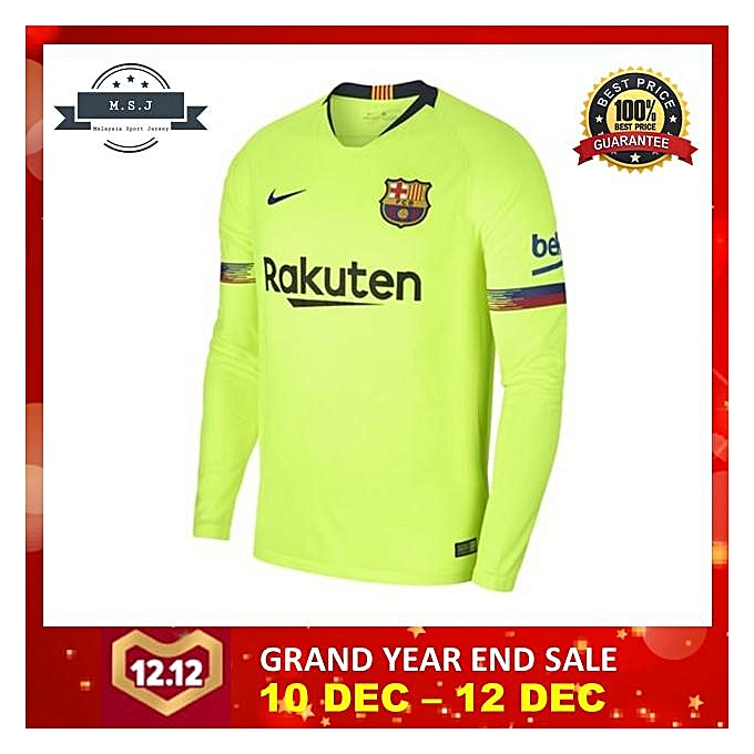 separation shoes 115f4 0ae23 18/19 Thailand Barcelona Away kit Long Sleeve Jersey 2018/2019 Barcelona  Away Jersey (Size:Int:XL