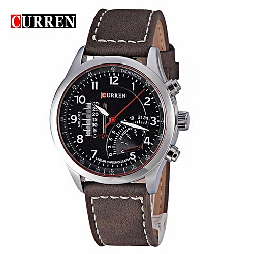 Leather Chronograph Analog Wrist Watch - Dark Brown/Black