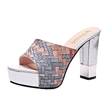 25b1b9ba09ec2 Blicool Shoes Fashion Women Mixed Colors Wedges Thick Bottom Shoes High Heeled  Sandals Gray