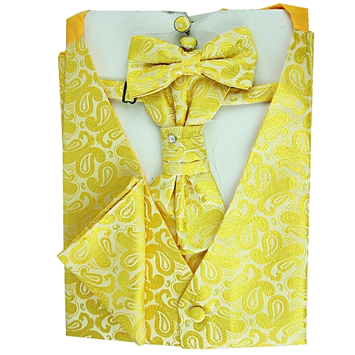 Paisley Print Vest Set - Yellow