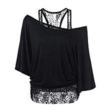 21a6267b34256 Xiuxingzi Women Plus Size Lace Loose Casual Long Sleeve Tops Blouse Shirt