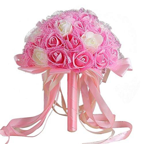 Crystal Ribbon Roses Bridesmaid Wedding Bouquet Bridal Artificial Silk Flowers-Pink, Neworldline