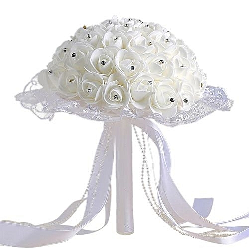 Crystal Lace Roses Bridesmaid Wedding Bouquet Bridal Artificial Silk Flowers