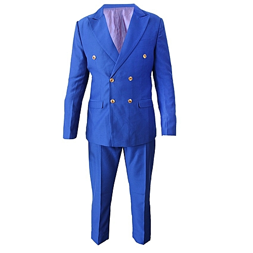 Double Breasted Slim Fit Suit - Royal Blue