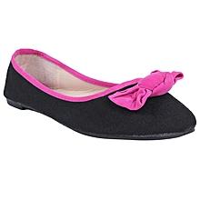 58edb033f8f Bow Detail Ballerina Flats - Black Pink