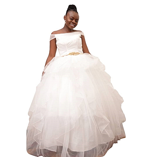 Off Shoulder Ball Gown with Belt - White