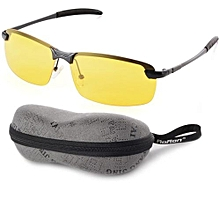Night Vision Driving Glasses Polarized Sunglasses (Yellow Lens+Black Frame) OS386-SZ