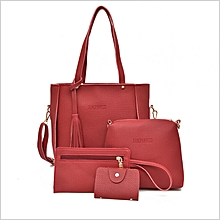 8c75c53c7478 4-in-1 Leather Hand Bag - Red