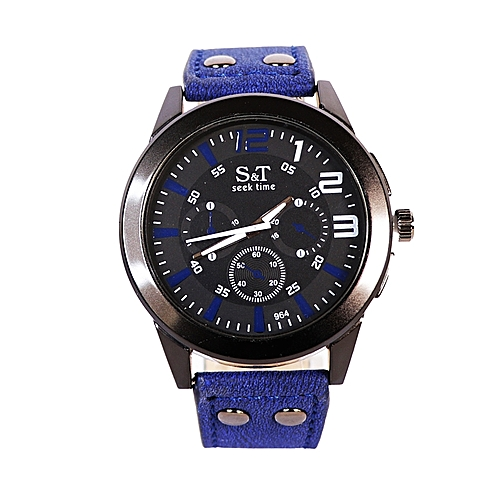 Leather Wrist Watch - Blue