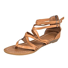 3dd56e042 Blicool Shoes Women Ladies Sandals Cross Strap Beach Fashion Flat Roman Shoes  Casual Shoes Brown