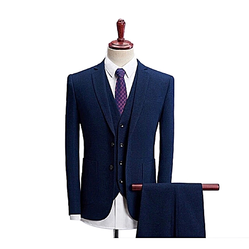 Single Button Slim Fit Suit - Dark Blue