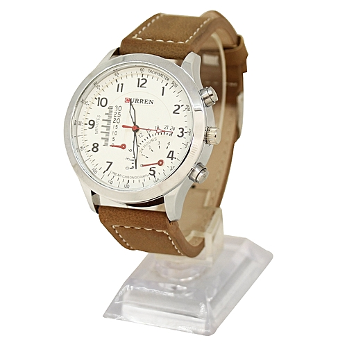 Leather Analog Wrist Watch - Brown/Silver