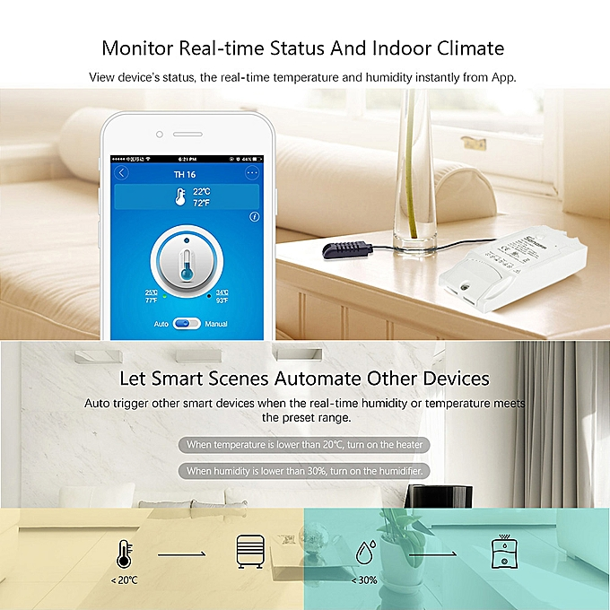 SONOFF TH16 WiFi Wireless Smart Switch Monitoring Temperature Humidity  Wireless Home Automation Kit Works With Amazon Alexa Google Home Nest 15A  3500W
