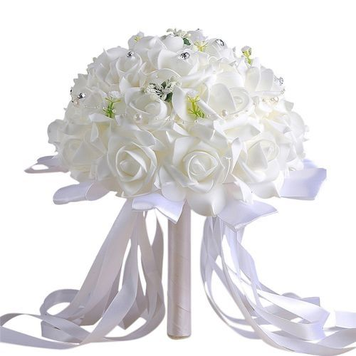 Crystal Roses Bridesmaid Wedding Bouquet Bridal Artificial Silk Flowers