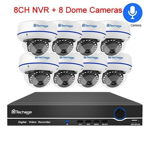 Techage 8CH 1080P CCTV Security System 1080P 2MP POE NVR Kit Audio Record Dome Indoor POE IP Camera P2P Video Surveillance Set(2T)
