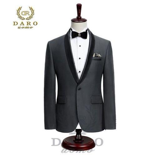 Single Button Tuxedo Suit - Black