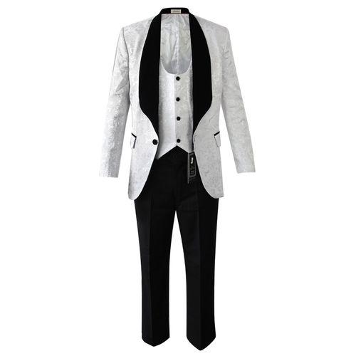 Slim Fit Wedding Suit - White/Black