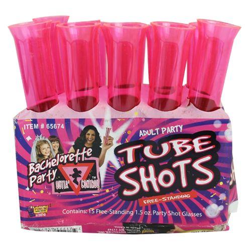 Hot Pink Bachelorette Tube Shots - 15 Count