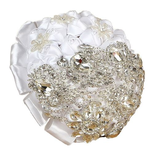 Luxury Style Bride Artificial Rhinestone Rose Silk Flowers Wedding Bouquet