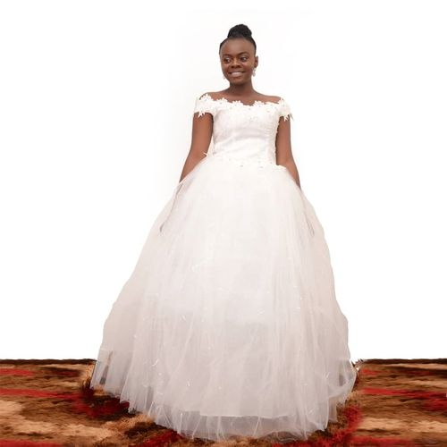 Off Shoulder Ball Gown - White