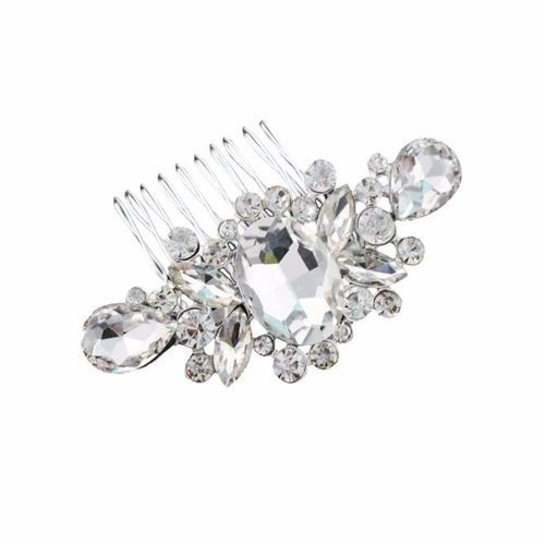 Bridal Wedding Diamond Pearl Hairpin Hair Clip Comb Jewelry-Silver