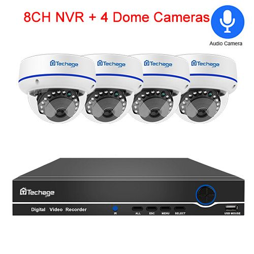 Techage 8CH 1080P CCTV Security System 1080P 2MP POE NVR Kit Audio Record Dome Indoor POE IP Camera P2P Video Surveillance Set(1T)