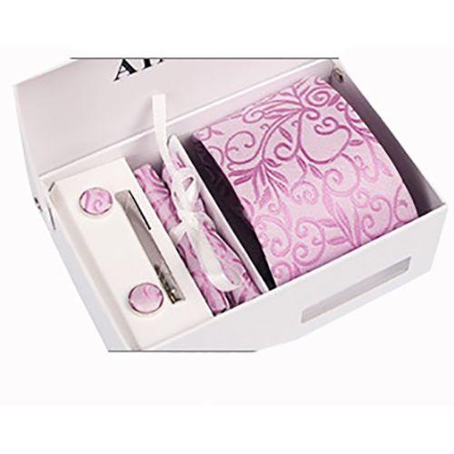 Striped Neck Tie, Cufflinks, Tip Clip & Pocket Square Set - Pink