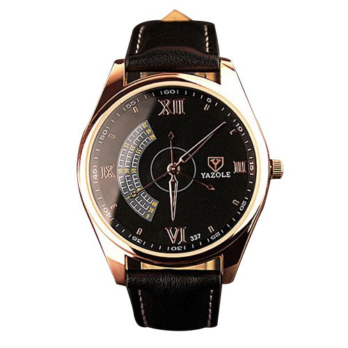 Leather Wrist Watch - Black/Gold