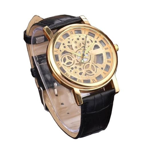 2018 Luxury Leather Skeleton Wrist Watch - Black/Gold