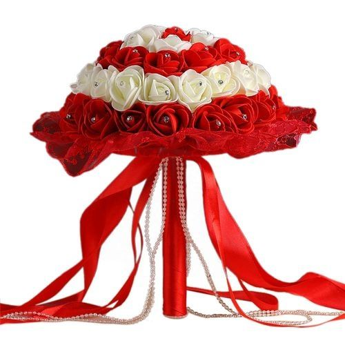 Crystal Lace Roses Bridesmaid Wedding Bouquet Bridal Artificial Silk Flowers -Red, Neworldline