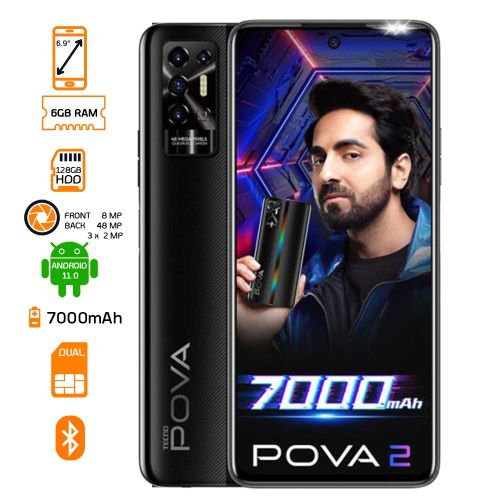 Pova 2 Dual SIM - 6GB RAM - 128GB ROM 7000Mah - Dazzle Black