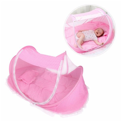 Shop White Label Portable Baby Bed With Net - Pink Online ...