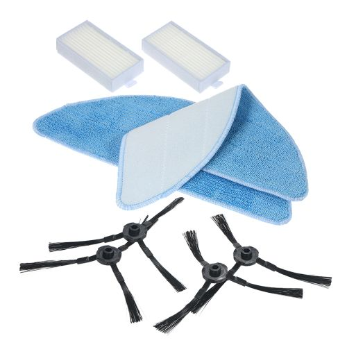 Pack of 8 Replacement Accessories Kit Mops + Side Brushes + HEPA Filters for ILIFE V5S V3S V3 V5 Pro Robotic Vacuum Cleaner