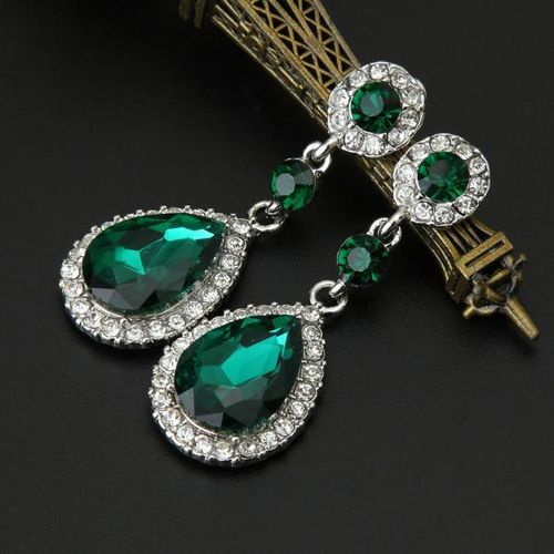 Wedding Jewelry Rhinestone Style Wedding Earrings For Women Green