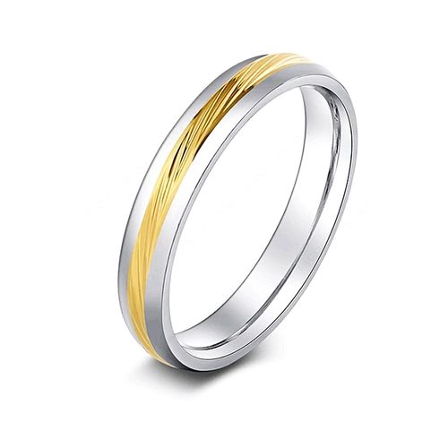 Titanium Ring with Gold Lining - R63 Silver