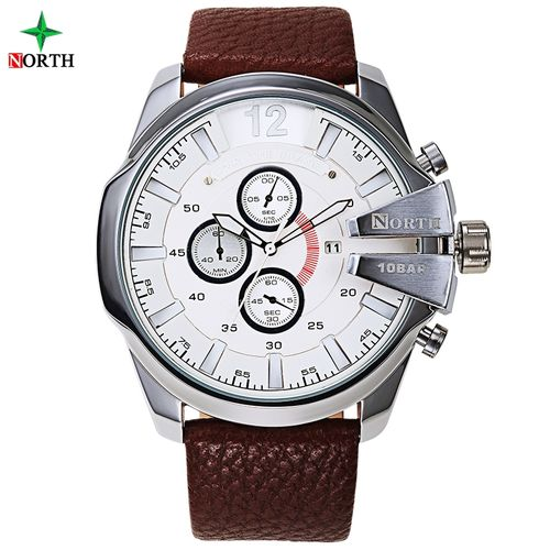 Leather Chronograph Analog Wrist Watch - Brown/White