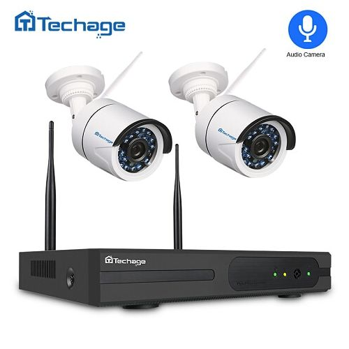 Techage 1080P Wireless CCTV Security System 4CH NVR 2.0MP Audio Record Wifi IP Camera Indoor Outdoor P2P Video Surveillance Kit(2T)